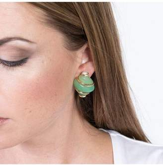 Kenneth Jay Lane Jade Shell With Pearl Tip Clip Earrings