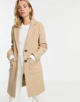 New Look button front coat in beige