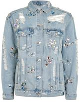 Topshop Moto crystal embellished denim jacket