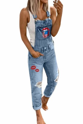 Yulinge Women Ripped Denim Overalls Floral Jumpsuits Dungarees Casual Destoryed Jeans Playsuit Bib Rompers Blue M