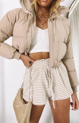 Beginning Boutique Karma Cropped Puffer Jacket Beige