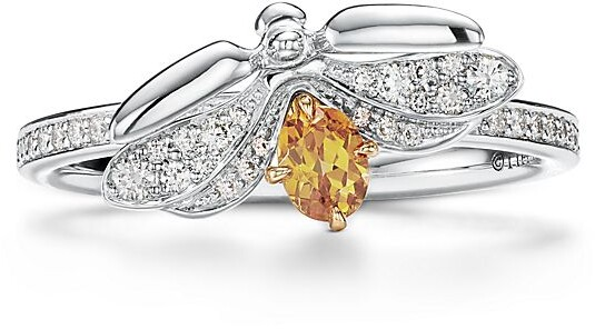 Tiffany & Co. Paper Flowers spessartine firefly ring in platinum and 18k gold, mini