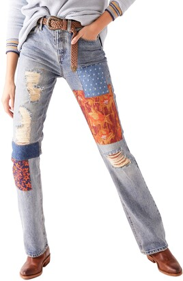 Free People Belladonna Patchwork Bootcut Jeans