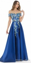 Morrell Maxie Multi Color Floral Embroidered Off the Shoulder Evening Dress