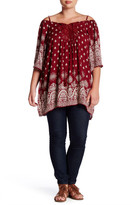 Angie Gauze Printed Cold Shoulder Tunic (Plus Size)