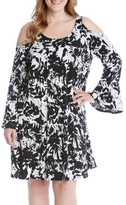 Karen Kane Plus Size Women's Cold Shoulder Bell Sleeve Dress
