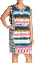 London Times Plus Size Women's Print V-Neck Blouson Dress