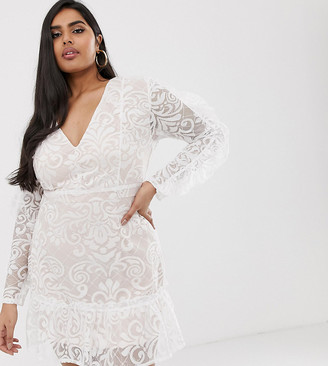 Lasula Plus plunge front allover lace mini dress with ruffle pleated hem in white