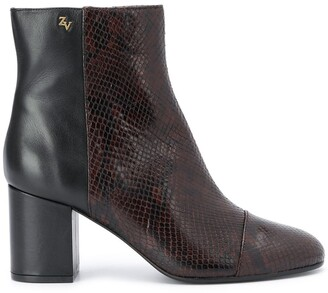 Zadig & Voltaire Snakeskin Panel Ankle Boots