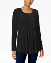 Style&Co. Style & Co. Pleated Henley Top, Only at Macy's