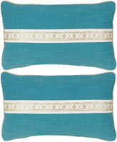 Miles Talbott Collection S/2 Fiene Pillow 12x20 Pillows, Turq