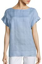 Lafayette 148 New York Lori Plaid Linen Blouse