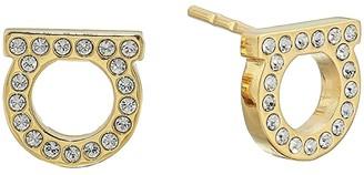 Salvatore Ferragamo Stud Strass Earrings (Gold) Earring
