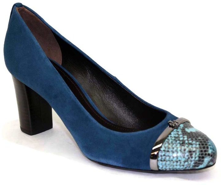 """Tory Burch Pacey"""" Bright Navy Leather and Snake Toe Pump"""