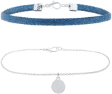 Accessorize 2x Denim & Silver Coin Choker Necklace Pack