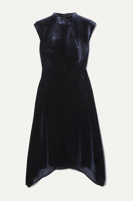 Cefinn Allegra Asymmetric Velvet Midi Dress - Navy