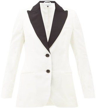Bella Freud Saint James Single-breasted Velvet Blazer - White Black