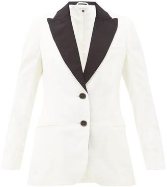 Bella Freud Saint James Single-breasted Velvet Blazer - Womens - White Black