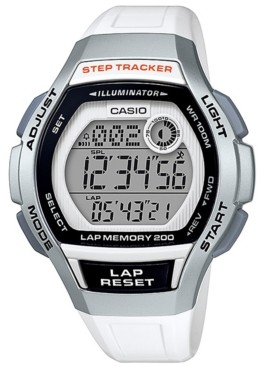 Casio Women's Digital Step Tracker White Resin Strap Watch 38.2mm