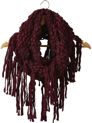 Tickled Pink Accessorie's Women's Thick Knitted Infinity Circle Scarf with Fringe