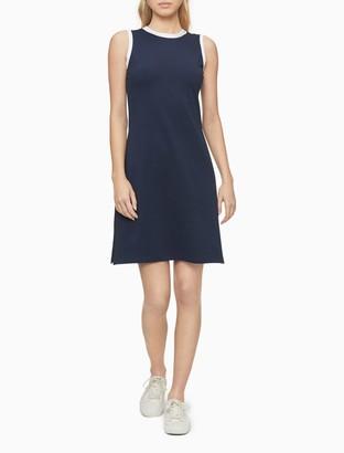 Calvin Klein Contrast Trim Sleeveless Tank Dress