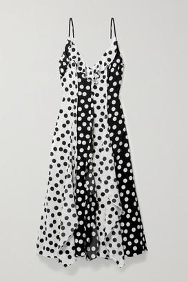 Carolina Herrera Ruffled Polka-dot Crepe Midi Dress - Black
