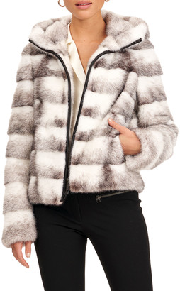 Gorski Horizontal Mink Fur Zip Hoodie Jacket