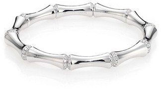 Gucci Bamboo Diamond & 24K White Gold Bangle Bracelet