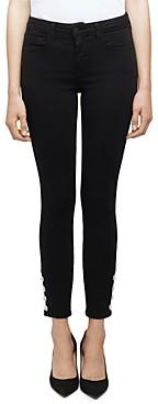 L'Agence Lindsey Rhinestone Skinny Jeans in Noir