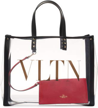 Valentino Garavani Small Grande Plage VLTN Logo Clear Tote