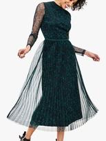 Oasis Sheer Sleeve Leopard Dress, Green