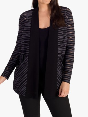 chesca Ribbed Stripe Jersey Jacket, Grey/Black