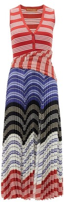 Altuzarra Milkweed Striped Plisse Midi Dress - Red Multi