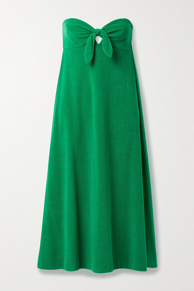 Thumbnail for your product : Zimmermann Teddy Strapless Tie-front Cotton-terry Midi Dress - Emerald