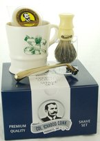 Col. Conk Products Model 240 A Shave Mug, Pure Badger Brush, Gold Tone Razor, and Soap