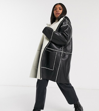 ASOS DESIGN Curve shearling parka with borg detail in black