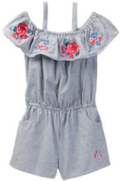 Betsey Johnson Striped Chambray Romper with Floral Embroidery (Little Girls)