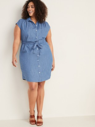 Old Navy Chambray Cinch-Tie Plus-Size Shirt Dress