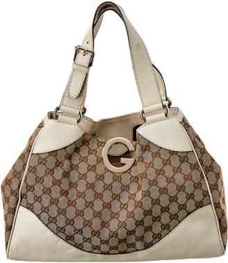 Gucci Brown Gg Canvas & White Leather Charlotte Tote
