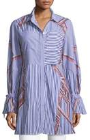 Tanya Taylor Charlee Striped Embroidered Menswear Shirt
