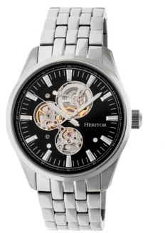 Heritor Automatic Stanley Silver & Black Stainless Steel Watches 43mm