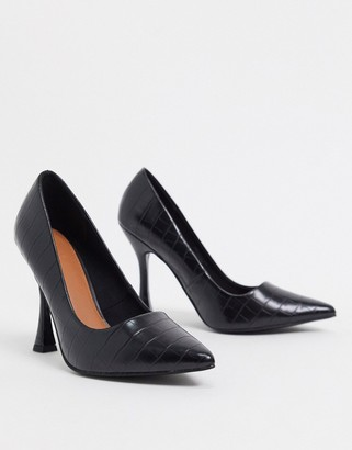 ASOS DESIGN Pippa pointed court shoes in black croc