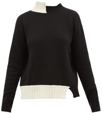 Marni Asymmetric Virgin Wool-blend Sweater - Womens - Black Multi