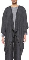 eskandar Jersey Drape-Front Cocoon Sweater, Charcoal