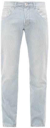 Lanvin Striped Straight-leg Cotton-denim Jeans - Mens - Light Blue