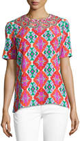Andrew Gn Embroidered Geometric-Print Short-Sleeve Top