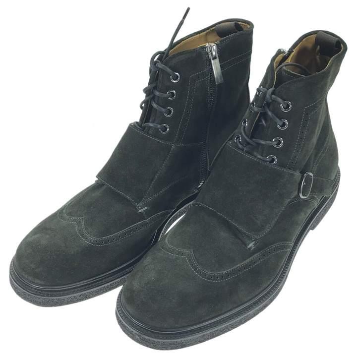 Giorgio Armani Khaki Suede Boots