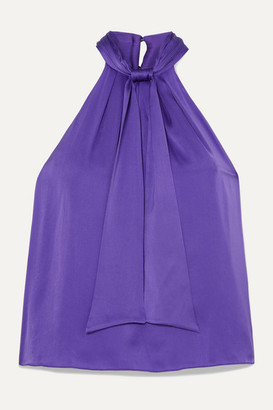 Alice + Olivia Alice Olivia - Leia Tie-detailed Silk-blend Crepe Halterneck Top - Purple