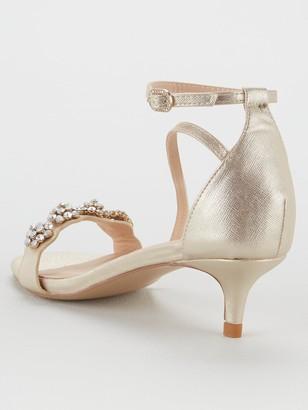 Wallis Kitten Heel Embellished Sandals - Gold