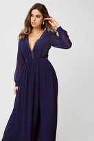 Little Mistress Delilah Navy Plunge Maxi Dress
